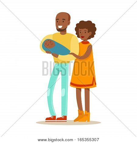 Young Parents Holding Baby, Happy Family Having Good Time Together Illustration. Household Members Enjoying Spending Time Together Vector Cartoon Drawing.