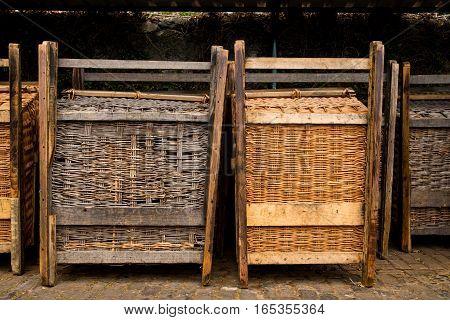 Traditional portugese basket sledges used on Madeira island