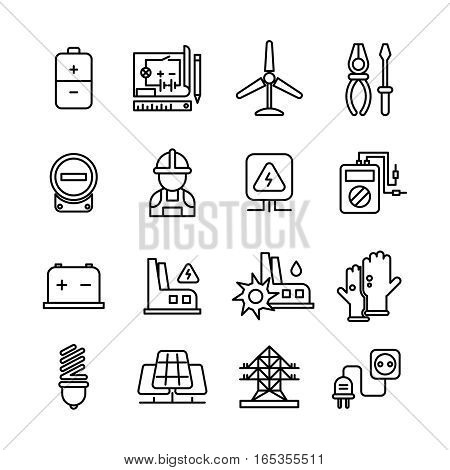 Electricity industry, electrical engineering vector line icons. Energy power electrical industry, building electrical station illustration