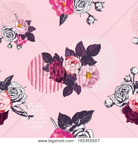 Vintage floral seamless pattern with monochrome and colored wild roses and circles with grungy textures on pink background. Vector illustration in retro style for wedding invitation wrapping paper.