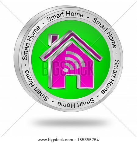 green Smart Home Button - 3D illustration