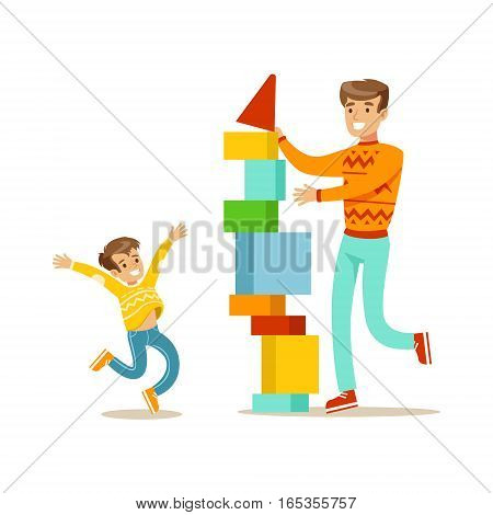 Dad And Son Building A Tower With Blocks, Happy Family Having Good Time Together Illustration. Household Members Enjoying Spending Time Together Vector Cartoon Drawing.