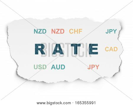 Money concept: Painted blue text Rate on Torn Paper background with  Currency
