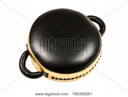 Gold And Black Leather Boxing Punching Pad, Mitt Or Bag.