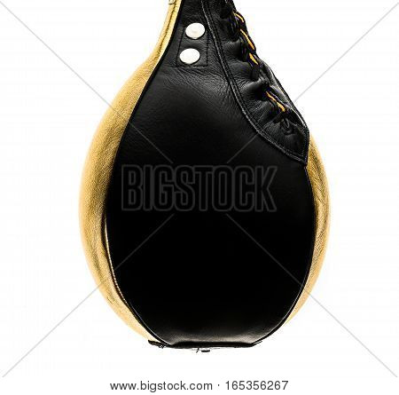 Gold And Black Leather Boxing Speed Bag Isloated On White.