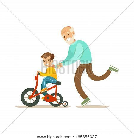 Grandfather Running Behind Grandson Bicycle, Happy Family Having Good Time Together Illustration. Household Members Enjoying Spending Time Together Vector Cartoon Drawing.
