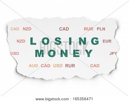 Money concept: Painted green text Losing Money on Torn Paper background with  Currency