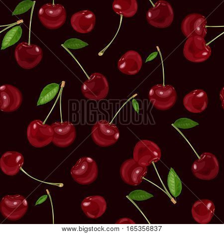 Seamless pattern, background with cherry. Vector illustration.