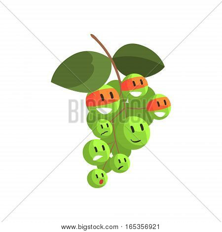 Green Grapes In Face Masks, Part Of Vegetables In Fantasy Disguises Series Of Cartoon Silly Characters. Colorful Vector Illustration With Fresh Food Disguised As Magic And Comics Creatures.