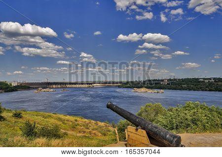 Island in the Dnieper near Zaporozhye hydroelectric plant.