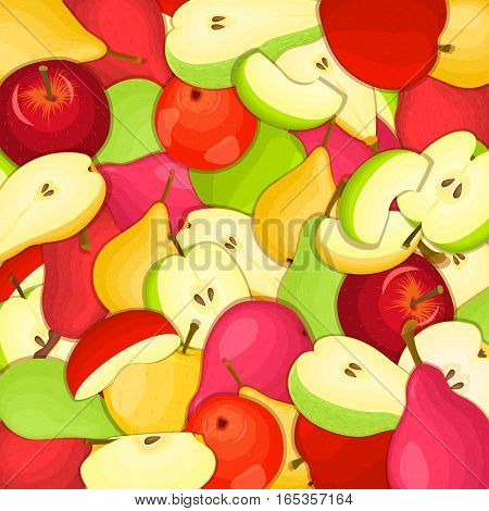 Ripe juicy pear apple background. Vector card illustration. Closely spaced fresh pears applles peeled, piece of half, slice, seed appetizing looking pattern for packaging design of healthy food diet