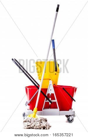 Professional Mop Bucket Isolated