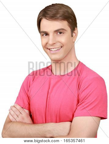 Confident Young Man with Crossed Arms - Isolated