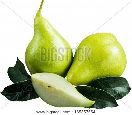 Whole Green Pears with Slice and Leaves - Isolated