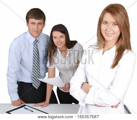 Friendly Businesswoman and Talking Collaborators in Background - Isolated