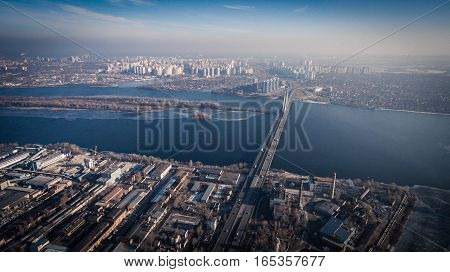 Aerial view to industrial zone and technology park Dnipro river in Kiev, Ukraine