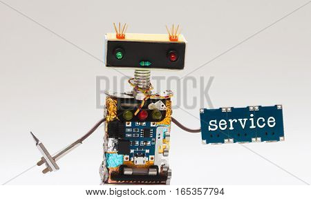 Toy robot handyman, screwdriver and microchip plate with text service. Fun character colorful head red blue light bulbs eyes. Repairing concept, gray background