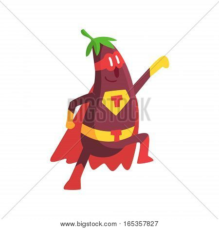 Eggplant In Superhero Costume, Part Of Vegetables In Fantasy Disguises Series Of Cartoon Silly Characters. Colorful Vector Illustration With Fresh Food Disguised As Magic And Comics Creatures.
