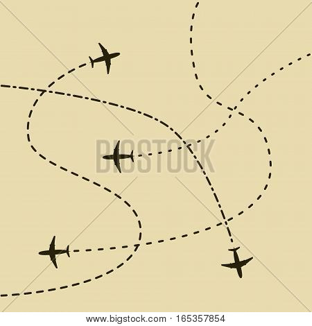 Airplane routes concept background. Simple illustration