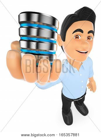 3d working people illustration. Information technology technician showing a database. Isolated white background.