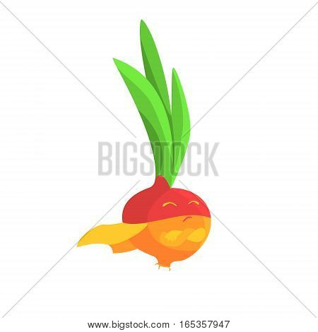 Onion In Ninja Caped Costume, Part Of Vegetables In Fantasy Disguises Series Of Cartoon Silly Characters. Colorful Vector Illustration With Fresh Food Disguised As Magic And Comics Creatures.