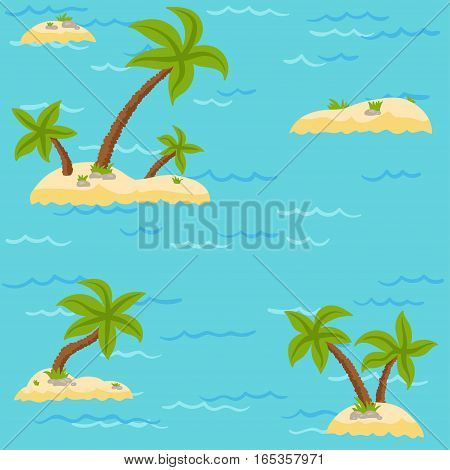 Island with palm trees in the ocean - vector pattern