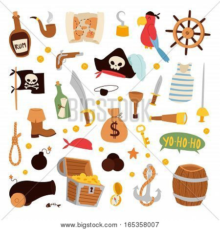 Set of stickers and objects on pirate theme. Cartoon collection treasure doodle icons. adventure, sea nautical symbols and patches vector illustration.