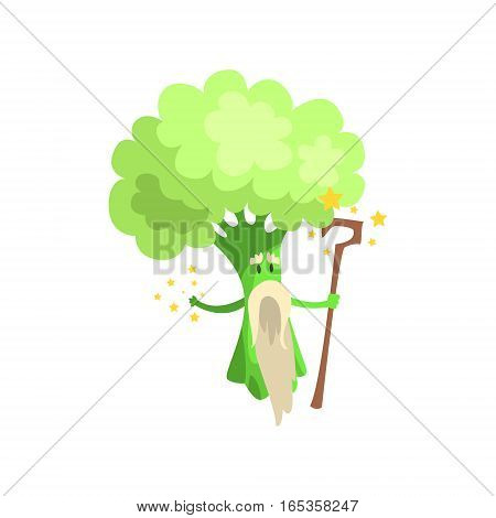 Broccoli Wizard With Staff And White Beard, Part Of Vegetables In Fantasy Disguises Series Of Cartoon Silly Characters. Colorful Vector Illustration With Fresh Food Disguised As Magic And Comics Creatures.