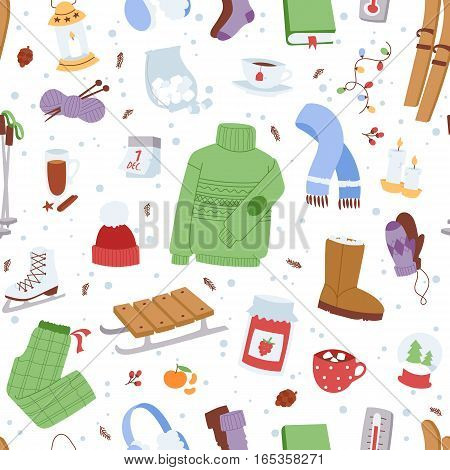Winter icons christmas season elements. Decoration cold time sport leisure. Vector pastime holiday snow celebration skate accessories and symbols.