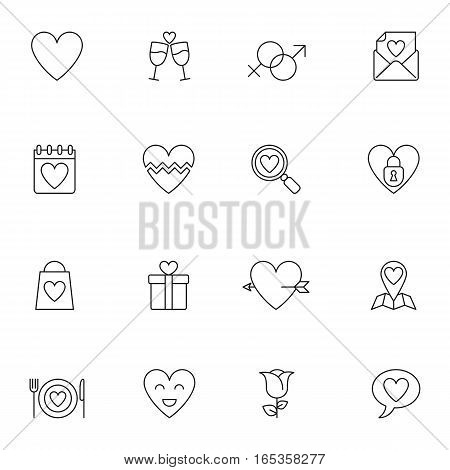 Set of 16 thin lined wedding and love icons