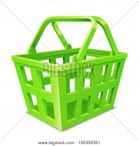 Empty green shopping basket on white background