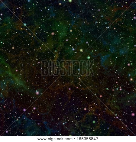 Abstract dark glittering colorful universe.  Nebula night starry sky. Multicolor outer space.  Galactic texture background. Seamless illustration.