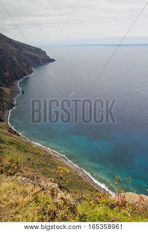 Rocky and rugged coastline of volcanic island Madeira