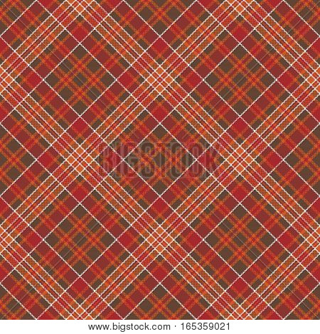 Warm color diagonal check plaid square pixel seamless pattern. Vector illustration.