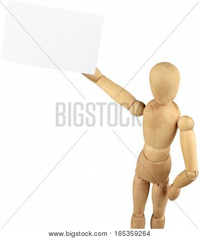 Miniature wooden mannequin holding a blank business card