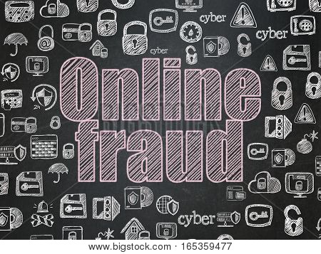 Privacy concept: Chalk Pink text Online Fraud on School board background with  Hand Drawn Security Icons, School Board