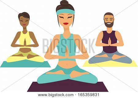 Group of people doing yoga flat vector illustration