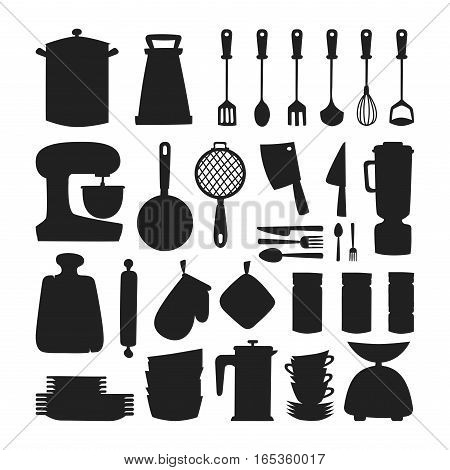 Kitchen silhouette and cooking icons set. Kitchenware and utensils food preparation vector illustration for restaurants cafe and culinary blog in flat design.