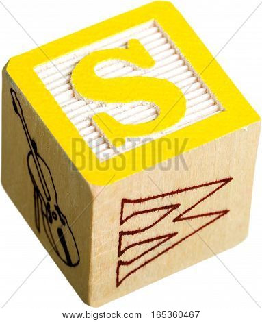 Wooden Letter Block With Letter S - Isolated