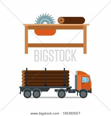 Lumberjack cartoon tools icons vector illustration. Timber chainsaw and truck isolated on white background. Wood material nature industry design. Cutting deforestation elements equipment