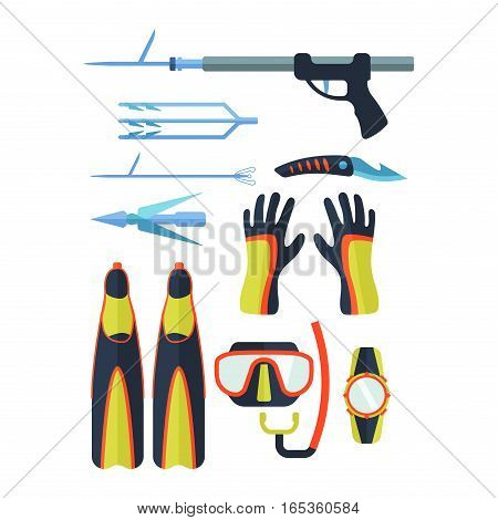 Set of flat elements for spearfishing in sea rivers and lakes. Underwater protective sea diver equipment. Vector professional hunter scuba harpoon.