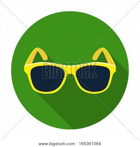 Yellow trendy sunglasses icon in flat design isolated on white background. Brazil country symbol stock vector illustration.