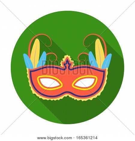 Brazilian carnival mask icon in flat design isolated on white background. Brazil country symbol stock vector illustration.