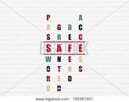 Protection concept: Painted red word Safe in solving Crossword Puzzle