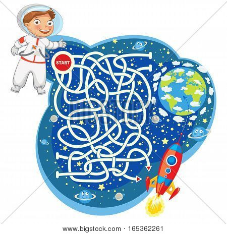Help the astronaut reach the spaceship and go to the planet earth. Maze Game with Solution. Funny cartoon character. Vector illustration. Isolated on white background