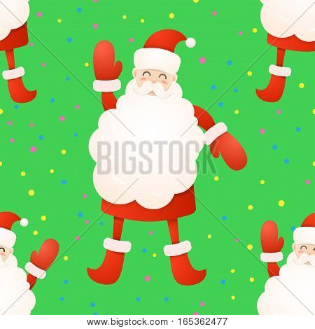 Pattern color Santa claus. Christmas background poster. Vector illustration. Happy New Year