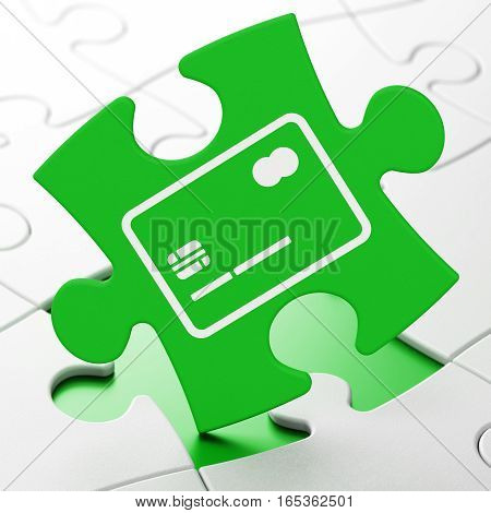 Finance concept: Credit Card on Green puzzle pieces background, 3D rendering