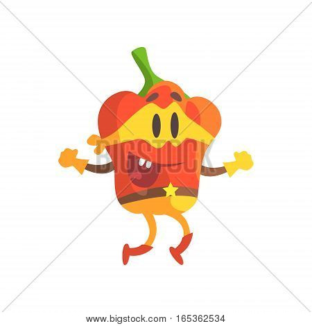 Bell Pepper In Mask And Superhero Costume, Part Of Vegetables In Fantasy Disguises Series Of Cartoon Silly Characters. Colorful Vector Illustration With Fresh Food Disguised As Magic And Comics Creatures.