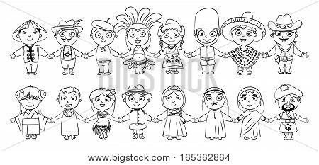 Nationalities. Tahitian, Englishman, Chinese, Japanese, American, Mexican, German, Indian, Scotsman, Arab, Canadian, African, Russian, Frenchman, Netherlander. Coloring book. Isolated white background