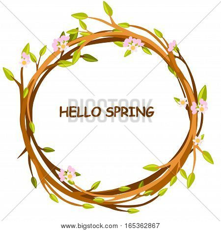 Cute background greeting card, HELLO SPRING in circle of twigs, set 4 season